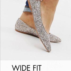 ASOS Wide Width Glitter Point Toe Flats